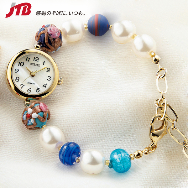 【イタリア お土産】ベネチアンガラス 腕時計 (青系)|アクセサリー ヨーロッパ 雑貨 イタリア土産 おみやげ