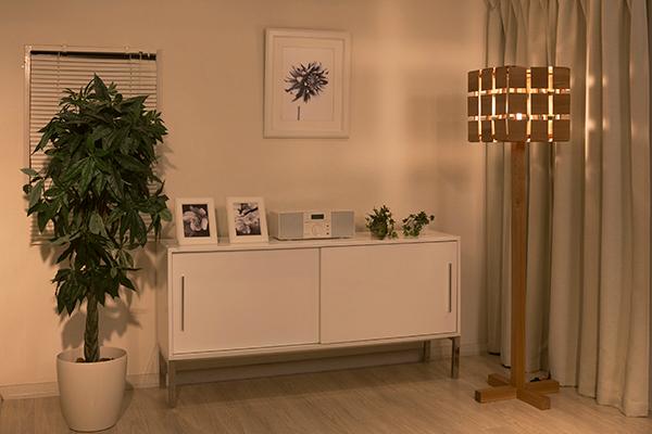 おしゃれ 木製 キューブシェード 木製照明 六面体 スタンドライト 北欧 フロアライト led LED 床置き 正方形