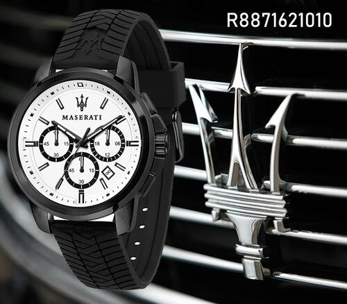 史上最も象徴的なアイテムのオリジナルな創造と自動車製造業者マセラティのデザインを取り込むものです Maserati Successo ブラック シリコン 優先配送 バンド クロノグラフ 高価値 R8871621010 腕時計 並行輸入品 クォーツ