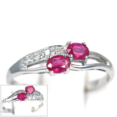 K18 ホワイトゴールド ルビー ダイヤモンド 指輪 31225