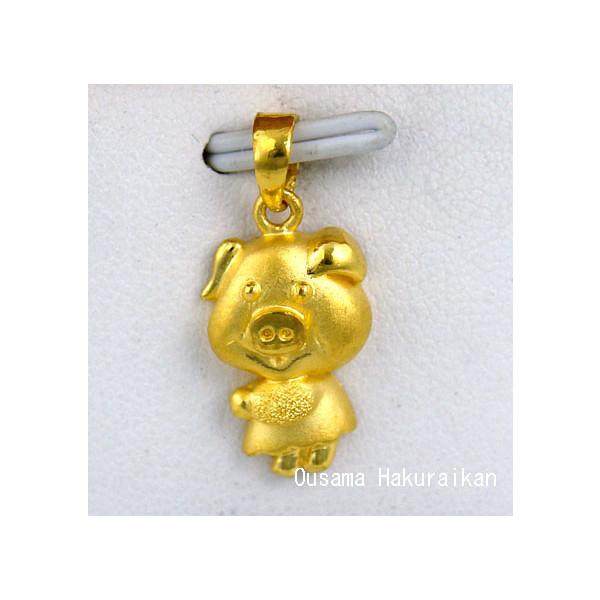 K24純金 999.9 ぶた ペンダントトップ 4105