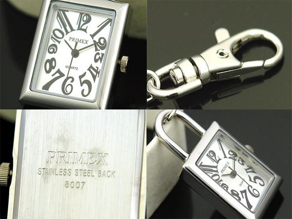 Mini clock Keychain 8007 silver / silver