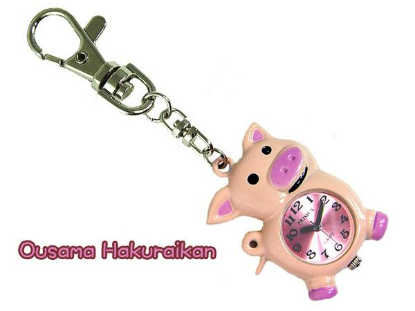 PP external color with pig type key ring mini-clock