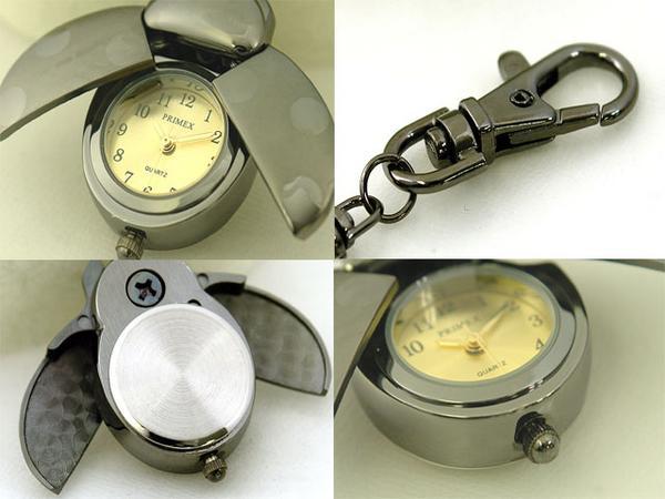 Ladybug key ring mini watch with black / gold