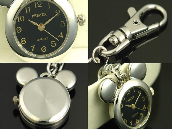 Key ring mouse silver / black with the mini-clock