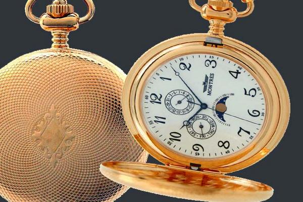 MONTRES モントレス ムーンフェイス 933 懐中時計 柄付 ゴールド/アラビア【並行輸入品】
