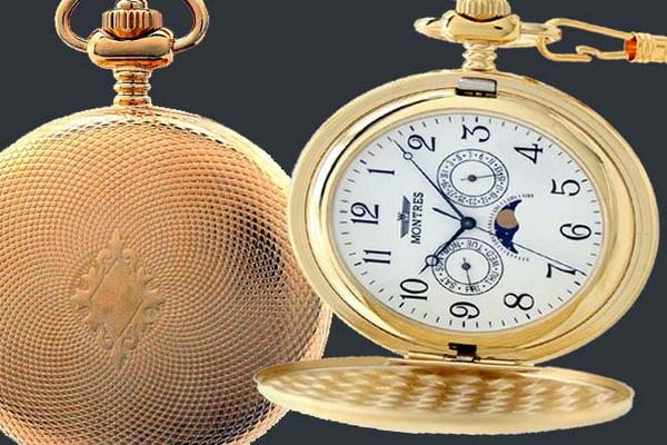 MONTRES Montres 923 moonface Pocket Watch handle with Gold / Arabic