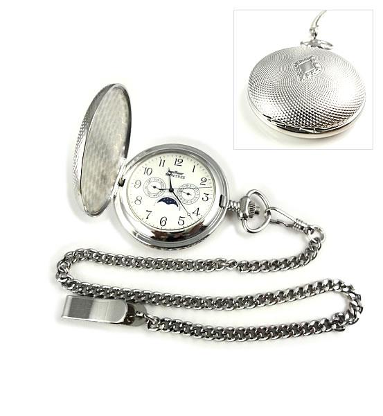 MONTRES モントレス 923 ムーンフェイス 懐中時計 柄付 ホワイト/アラビア