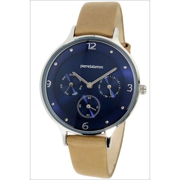 ラッピング無料 即日発送可能 先行販売 Pierre Talamon 市販 ピエール 再再販 タラモン PT-1500L-4 腕時計 ネイビーブルー×ライトブラウン レザーベルト レディース クォーツ 新商品