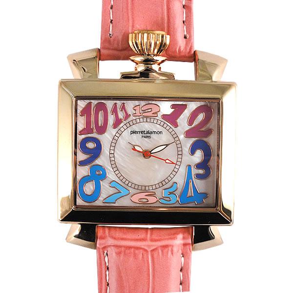[ピエールタラモン]pierretalamon 腕時計 スクエア ビッグフェイス ウォッチ ローズピンク シェル文字盤 PT-6000-4 レディース