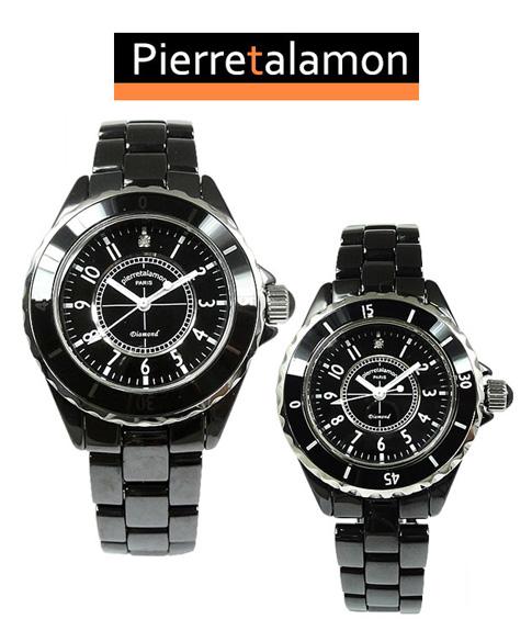 ラッピング無料 即日発送可能 Pierre Talamon ピエール タラモン 腕時計 PT-1600H ブラック メンズ 在庫処分 PT-1600L プレゼント ペアウォッチ 並行輸入品 レディース L