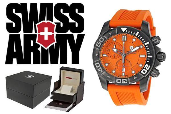 瑞士军刀维氏瑞士军刀观看专业潜水主 500 黑冰计时 241423 橙色男装