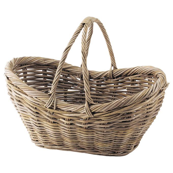 『 かご 』カゴ 籠 バスケット 店舗什器 小物入れ 小物収納 収納ケース ピクニックバスケット おしゃれ ナチュラル シンプル かわいい 可愛い コボ 木製 編み 大きめ 浅型 持ち手付 キッチン リビング ピクニック 買い物 ディスプレイ 収納