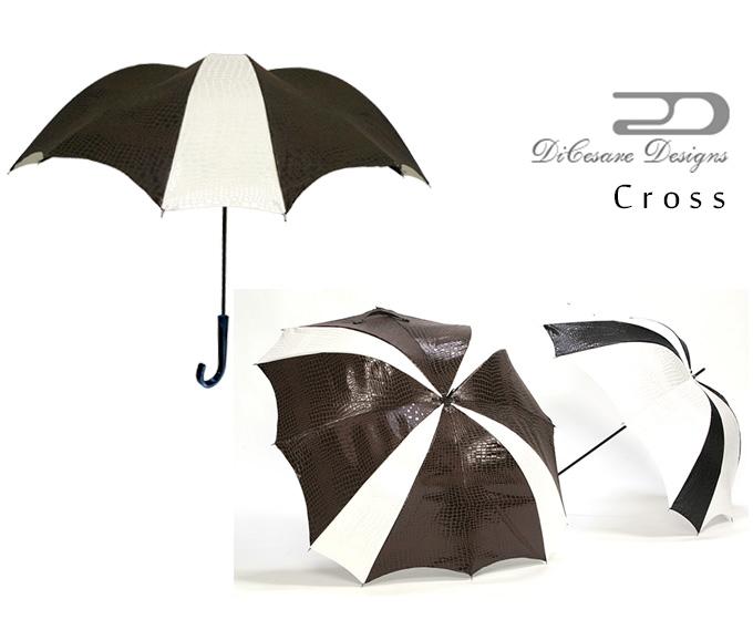 DiCesare Designs ディチェザレ デザイン『CROSS 雨傘 CROCODILE JACQUARD』 傘 雨傘 かさ カサ レディース ユニセックス メンズ ブランド クロコダイル ワニ セレブ 高級