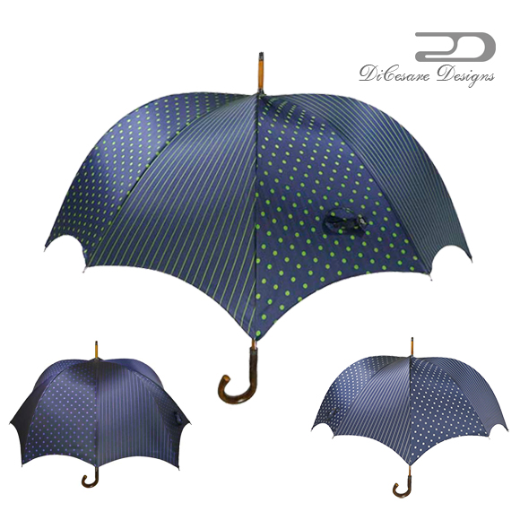 雨傘 メンズ DiCesare Designs ディチェザレ デザイン 『 グランデ パンプキン ラフィネ』 傘 かさ カサ 紳士用傘 umbrella デザイン傘 長傘 男性用傘 おしゃれ デザイン 大人 男性用 紳士用 贈り物 プレゼント 上質 日本製 国産 ドット ストライプ