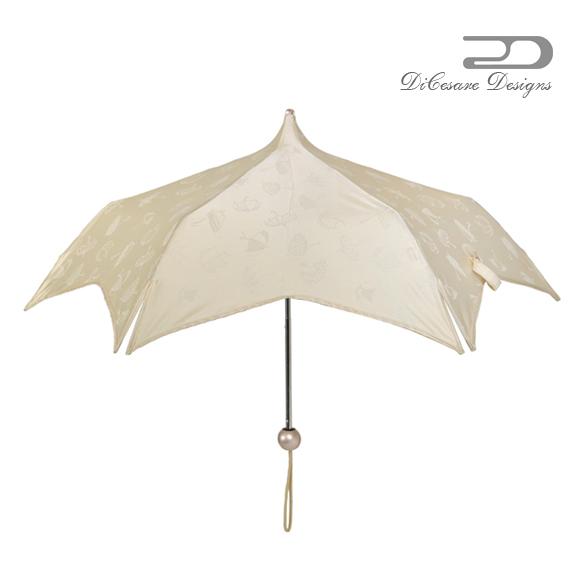 折りたたみ 日傘 レディース DiCesare Designs ディチェザレ デザイン 『 マルガリータ ダブルドット スーパーミニ モチーフ ジャカード』 晴雨兼用傘 傘 かさ カサ 雨傘 umbrella 婦人傘 デザイン傘 折りたたみ傘 おしゃれ かわいい デザイン プレゼント