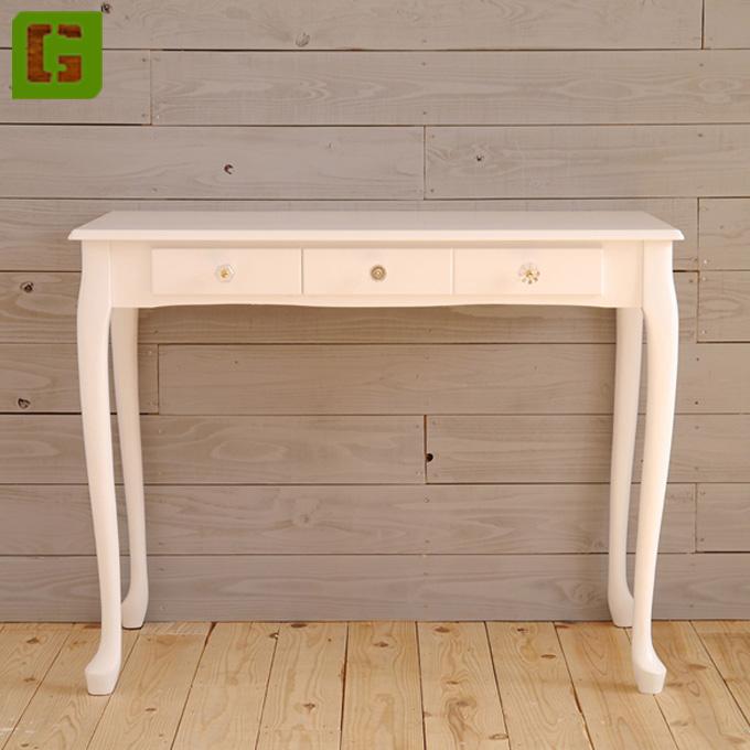 『デスク 幅90cm』コンソールテーブル 机 つくえ 花台 電話台 FAX台 飾り棚 ディスプレイテーブル 猫脚テーブル サイドテーブル おしゃれ ナチュラル フレンチカントリー アンティーク調 可愛い かわいい 姫 姫系 木製 猫足 白 ホワイト