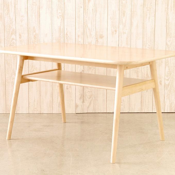 『ダイニングテーブル 幅120cm』 テーブル 食卓テーブル 食卓机 食卓 ディスプレイテーブル 木製テーブル おしゃれ 北欧 モダン カフェ風 ナチュラル 木製 樺 長方形 4人掛け 4人用 低め 高さ66cm 棚付き