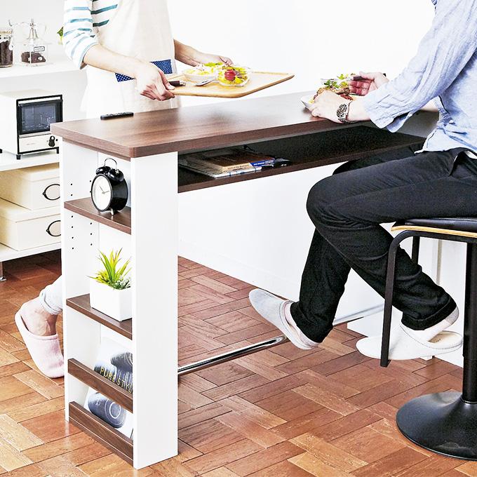 カウンターテーブル テーブル バーテーブル ハイテーブル 作業台 作業テーブル バーカウンターテーブル おしゃれ 可愛い かわいい 北欧 ナチュラル 木製調 対面式 壁面 キッチン リビング ダイニング コンセント付き 収納付き 棚付き 可動棚 2人掛け 2人用 スリム 幅120cm