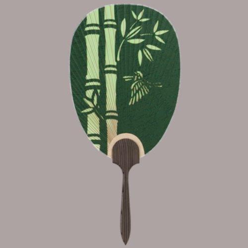 杉柄、総彫、都うちわ 長丸型 彫 竹に雀 まとめ買い10本