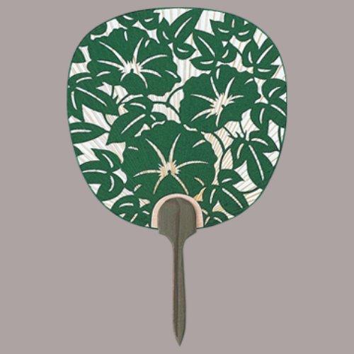 杉柄、総彫、都うちわ 手漉き和紙総彫 三輪 朝顔(緑) まとめ買い10本