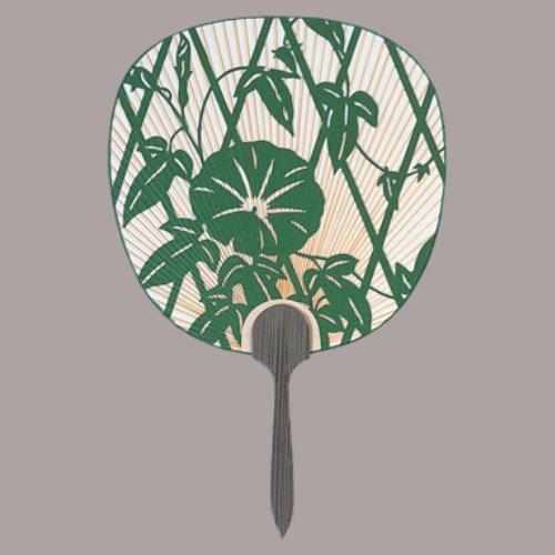 杉柄、総彫、都うちわ 手漉き和紙総彫 垣根朝顔(緑) まとめ買い10本