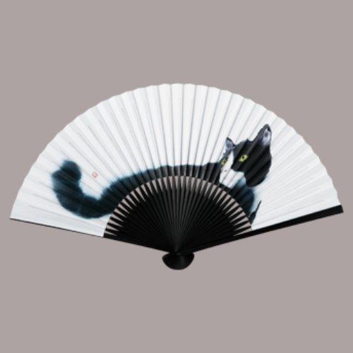 イラスト猫扇子(7.5寸35間) Hachiware(ハチワレ) まとめ買い10本