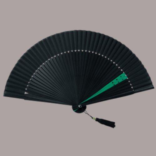 絹貼扇子 モダンツートン(緑) まとめ買い10本