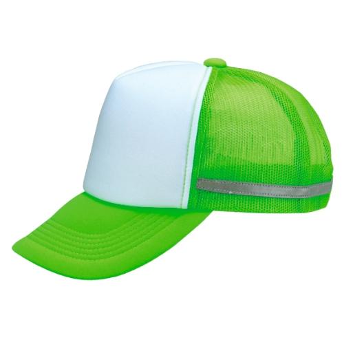 名入れ リフレックスアメリカンキャップ 蛍光グリーンXホワイト