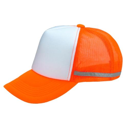 名入れ リフレックスアメリカンキャップ 蛍光オレンジXホワイト
