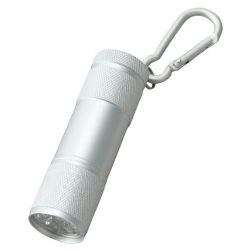 名入れ LED9灯カラビナ付ライト シルバー