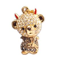 テディベア クリスタルペンダント&ストラップ (悪魔)兄 イエローブラック (Teddy-023Y/BK) 【新品・正規品・送料無料】 ギフト 【】