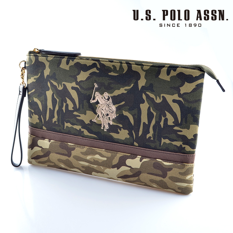 【d送料無料】US POLO ASSN 679736 USPA-1872 camouflage Beige camouflage2 ソリッドクラッチバッグ 【新品・正規品・送料無料】 ギフト 【】