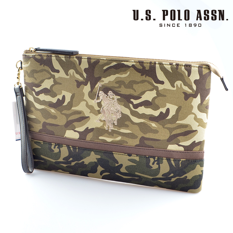 【d送料無料】US POLO ASSN 679738 USPA-1872 Beige camouflage camouflage2ソリッドクラッチバッグ 【新品・正規品・送料無料】 ギフト 【】