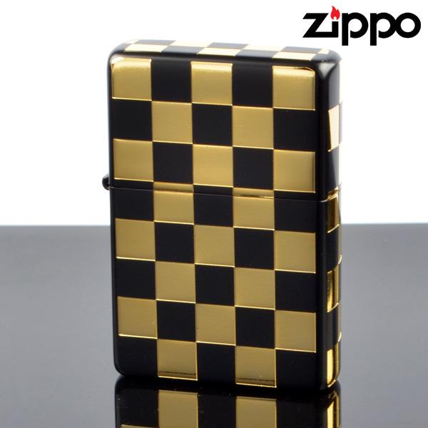 fukashiro ZIPPO ジッポライター 1201s380 フラットトップチェッカーGD【新品・正規品・送料無料】 ギフト 【】