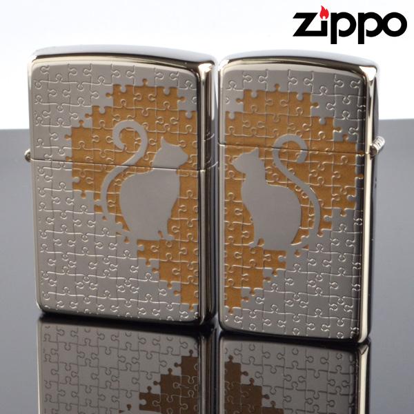 fukashiro ZIPPO ジッポライター 1201s468 キャットパズルペア SV ニッケルパラジウム 色入れ エッチング【新品・正規品・送料無料】 ギフト 【】