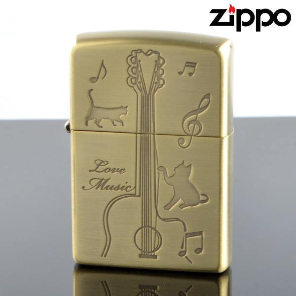 Zippo ジッポライター catg-bb CATS play the GUITAR キャットギター ブラス古美エッチング オイルライター 【新品・正規品・送料無料】 ギフト 【】