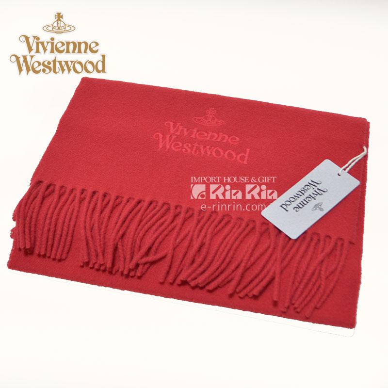 ヴィヴィアン・ウエストウッド Vivienne Westwood 男女兼用 ウール100% レッド 81030007-10081-FP-H401 RED 30×180 オーブロゴ入り ヴィヴィアンマフラー【新品・正規品・送料無料】 ギフト 【】
