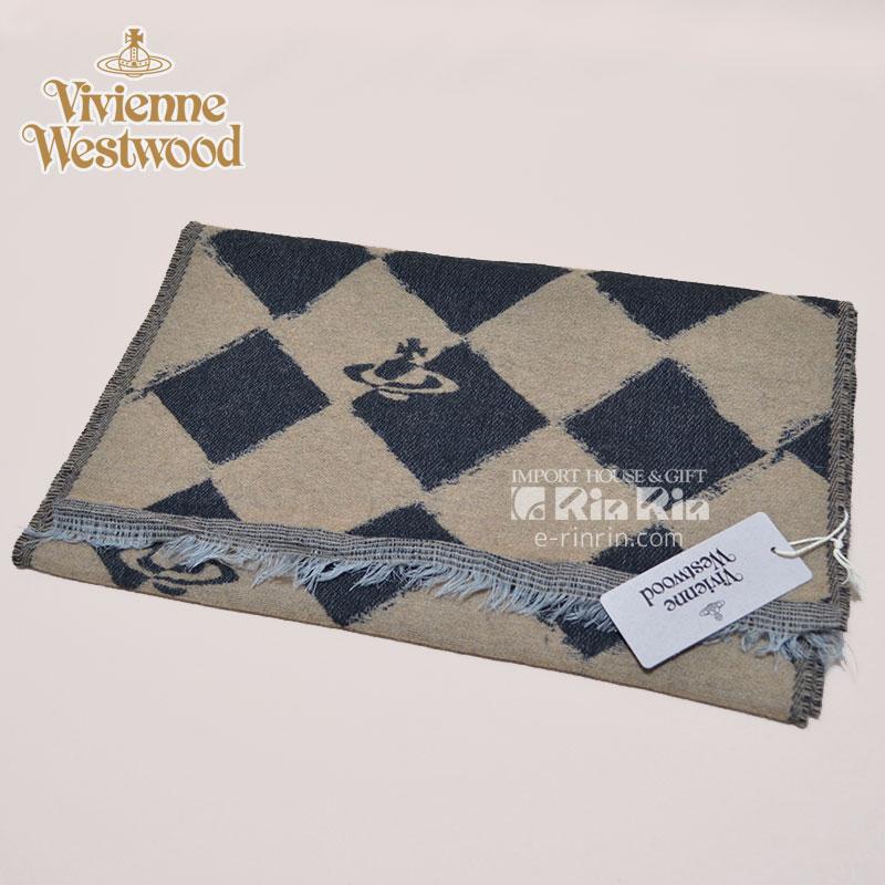 【y送料無料】ヴィヴィアン・ウエストウッド Vivienne Westwood 男女兼用 ウール66% ブラック・ベージュ 81030011-10069-PL-N206 BLACK-BEIGE 37×180 オーブロゴ入り ヴィヴィアンマフラー
