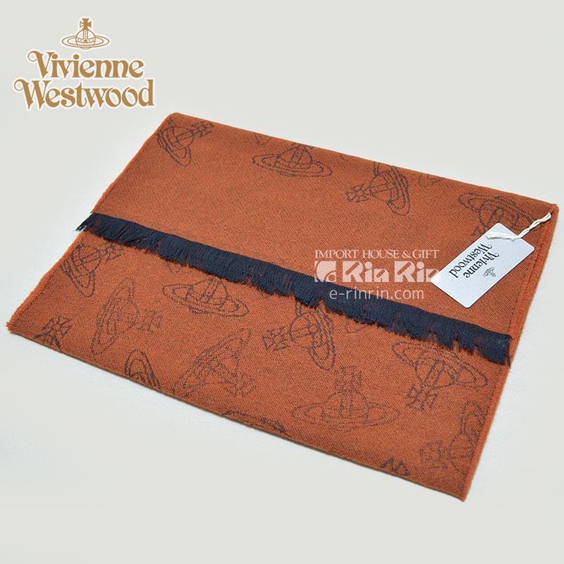【y送料無料】ヴィヴィアン・ウエストウッド Vivienne Westwood 男女兼用 ウール36% テラコッタ 81030013-10066-GE-F202 TERRA/COTTA 38×180 オーブロゴ入り ヴィヴィアンマフラー