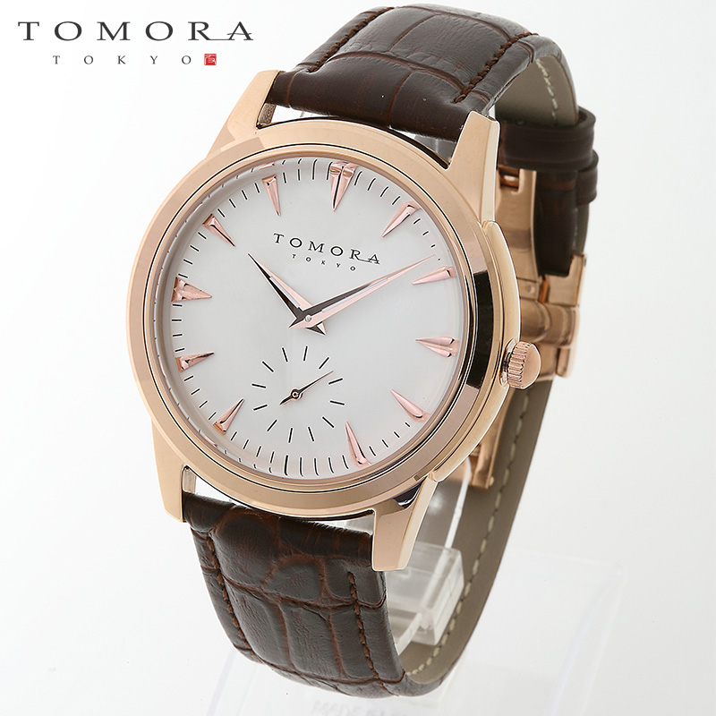 【a送料無料】TOMORA TOKYO t-1602-pgwh 日本製クォーツ スモールセコンド腕時計 T-1602 PGWH 【新品・正規品・送料無料】 ギフト 【】