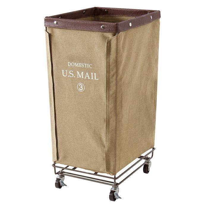 USメール ランドリー 幅33×奥行43×高さ71cm スチール&コットン&ポリエステル製 ベージュ キャスター付き スチール 洗濯用品 ハンガー シンプル e-room