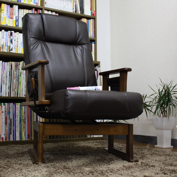 くるっと回る、リクライニングする高座椅子 手入れ簡単なPUレザー 座椅子父の日に高座椅子 老人の日に高座椅子 しっかりらくらく高座椅子 e-room