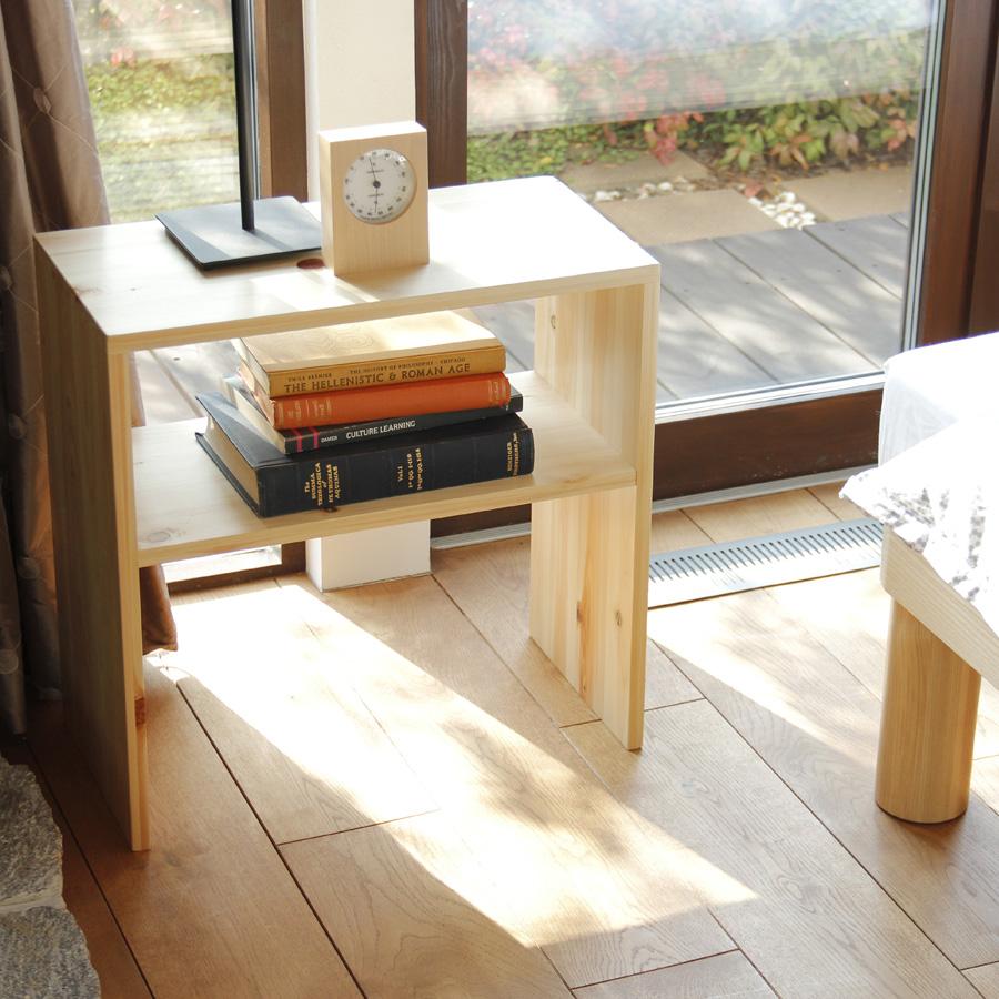 サイドテーブル 高級ひのきのナイトテーブル 日本製 家具の産地「広島県府中市」 送料無料 低ホルム