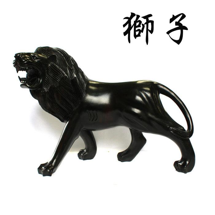 【展示品、現品限りの特別価格】高級天然木 黒檀 ライオン 獅子 置物 インテリア オブジェ 手彫り e-room