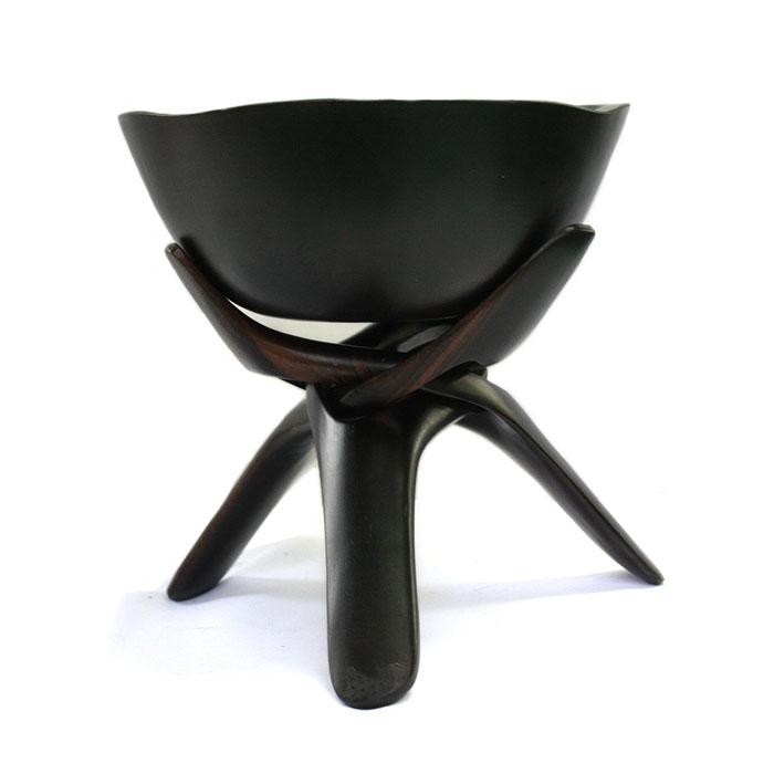 【展示品、現品限りの特別価格】高級天然木 黒檀 サラダボールとスタンド 置物 インテリア オブジェ 手彫り e-room
