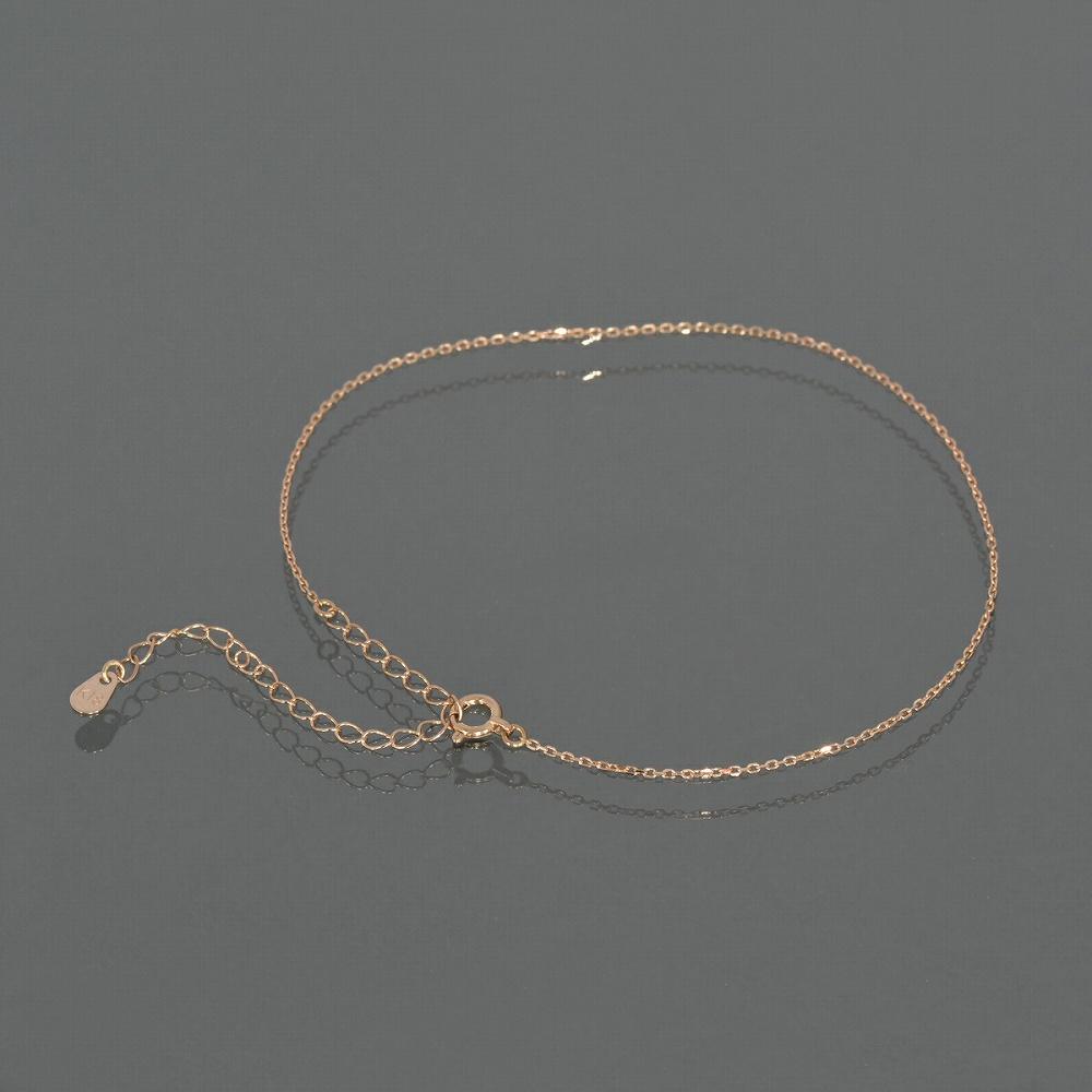 アンクレット チェーン 18金 ピンクゴールド 4面カット小豆チェーン 幅1.0mm 長さ24cm|鎖 K18PG 18k 貴金属 ジュエリー レディース メンズ
