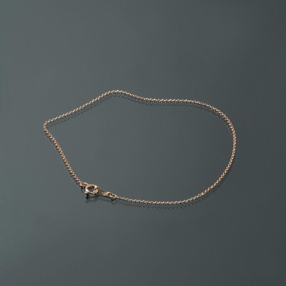 ブレスレット チェーン 18金 ピンクゴールド ロールチェーン 幅1.0mm 長さ15cm|鎖 K18PG 18k 貴金属 ジュエリー レディース メンズ