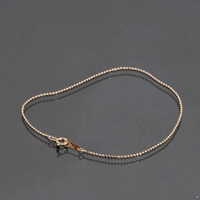 ブレスレット チェーン 18金 ピンクゴールド カットボールチェーン 幅1.0mm 長さ15cm|鎖 K18PG 18k 貴金属 ジュエリー レディース メンズ
