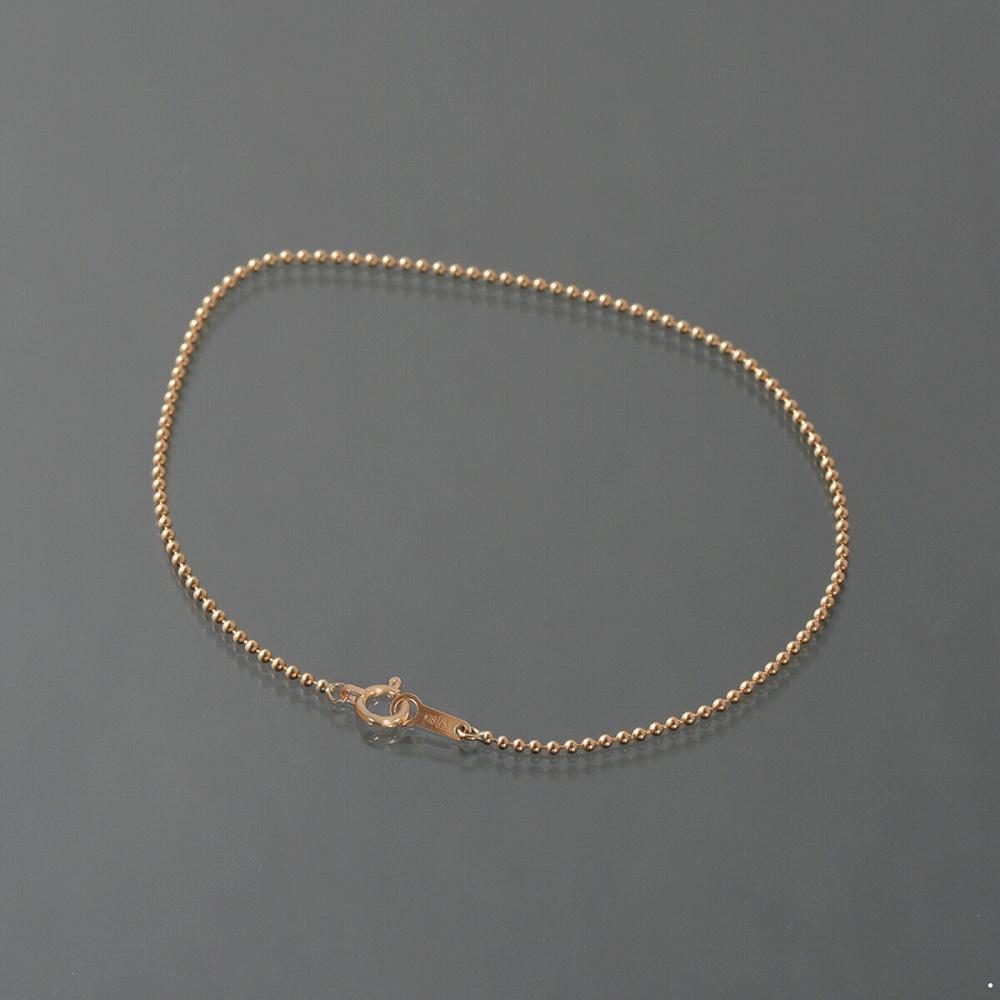 ブレスレット チェーン 18金 ピンクゴールド ボールチェーン 幅1.2mm 長さ15cm|鎖 K18PG 18k 貴金属 ジュエリー レディース メンズ